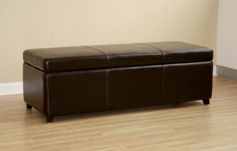 ... Monroe Full Leather Storage Ottoman ...