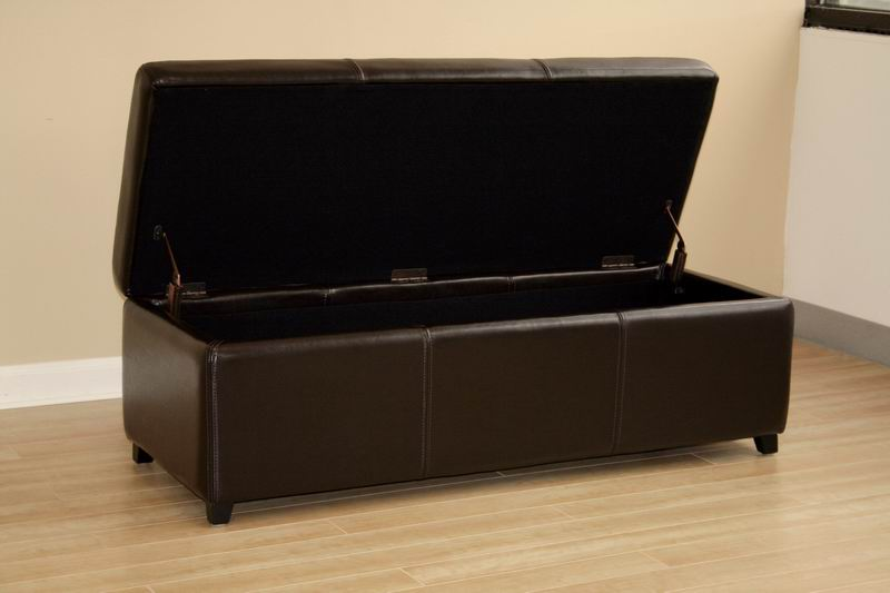 Monroe Brown Leather Large Storage Bench Ottoman With Wood