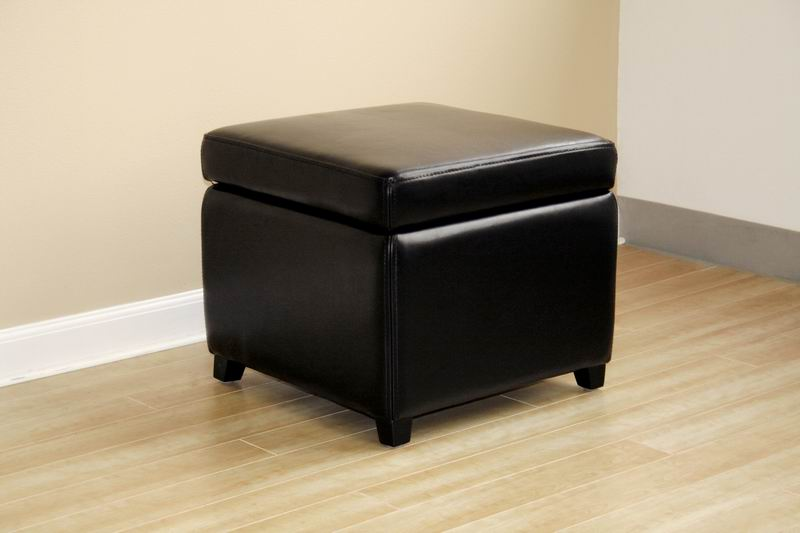 Linden Black Leather Small Storage Cube Ottoman With