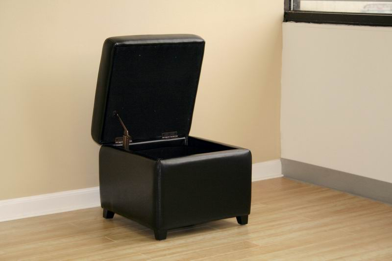linden black leather small storage cube ottoman with safety hinge - Storage Cube Ottoman