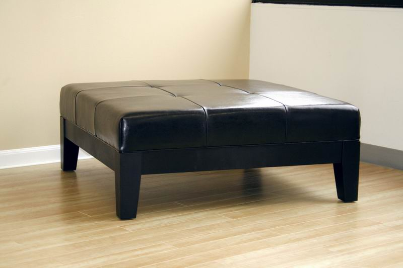 High Quality ... Grant Full Leather Cocktail Ottoman In Black