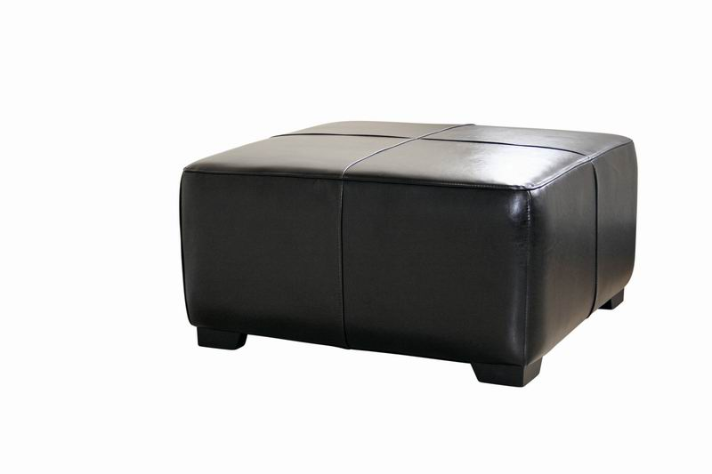 Belmont Black Leather Large Square Cocktail Ottoman With