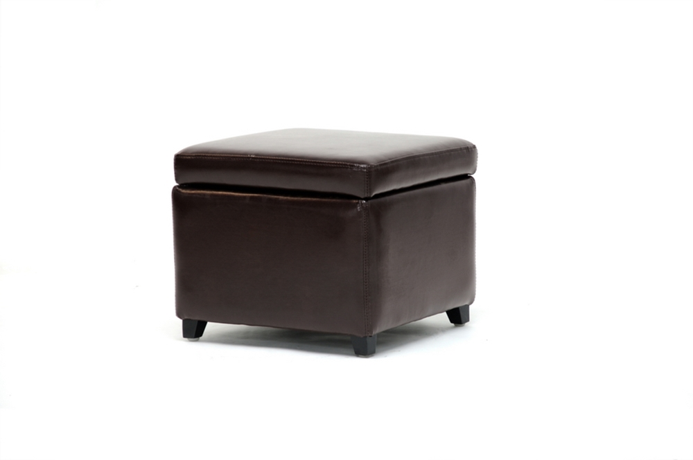 Linden Brown Leather Small Storage Cube Ottoman with Safety Hinge - Linden Brown Leather Small Storage Cube Ottoman With Safety Hinge