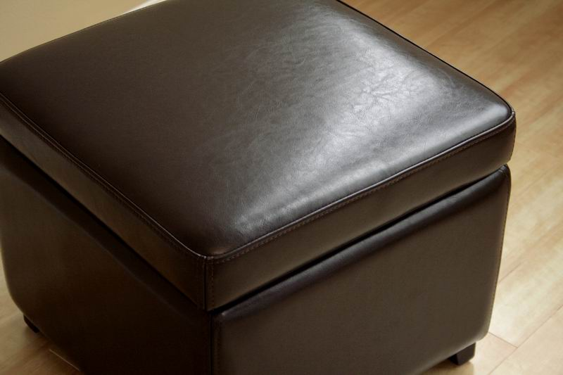 linden brown leather small storage cube ottoman with safety hinge - Storage Cube Ottoman