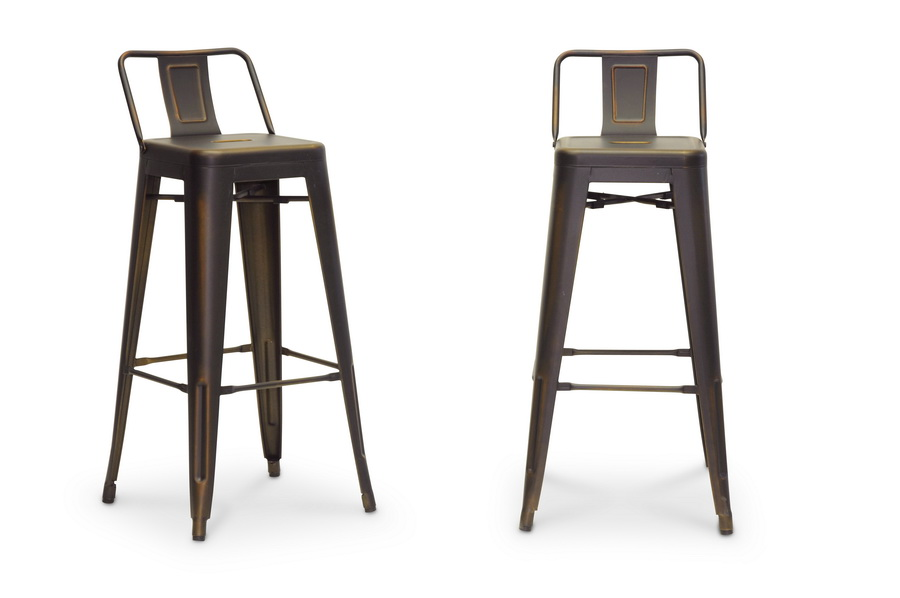 Baxton Studio French Industrial Modern Bar Stool In Antique Copper    IEM 94115X 30AC ...