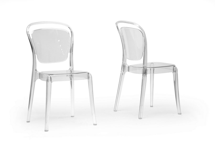 Baxton Studio Ingram Clear Plastic Stackable Modern Dining Chair Set Of 2 Interior Express