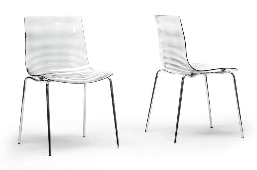 Baxton Studio Marisse Clear Plastic Modern Dining Chair Set of 2