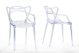 Baxton Studio Electron Clear Plastic Contemporary Dining Chair (Set of 2) Baxton StudioElectron Clear Plastic Contemporary Dining Chair, FurnitureDining Room Furniture