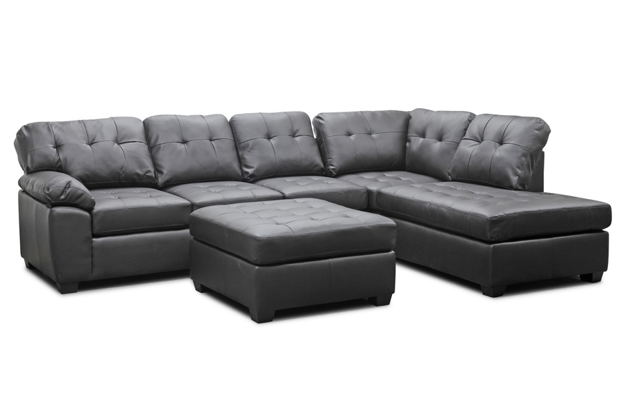 Baxton Studio Mario Brown Leather Modern Sectional Sofa with Ottoman ...