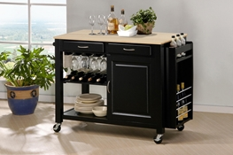 baxton studio denver white modern kitchen cart with butcher block top