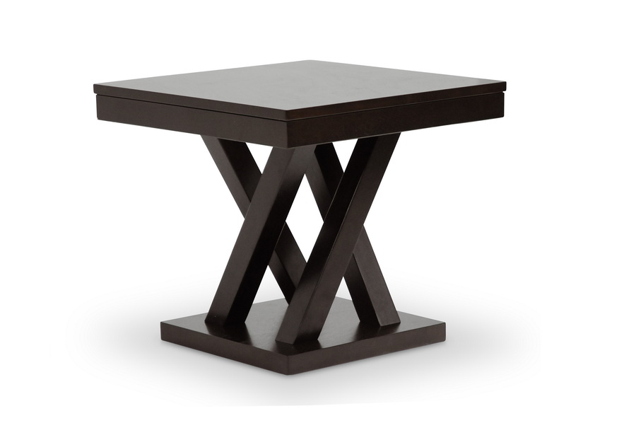 Baxton Studio Everdon Dark Brown Modern End Table   IESA109 Side Table ...