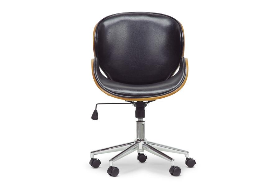 Superb Baxton Studio Bruce Walnut And Black Modern Office Chair Interior Design Ideas Gentotryabchikinfo