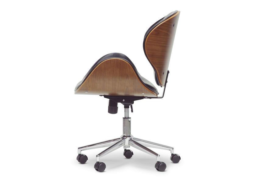 baxton studio bruce walnut and black modern office chair iesdm22405 walnut