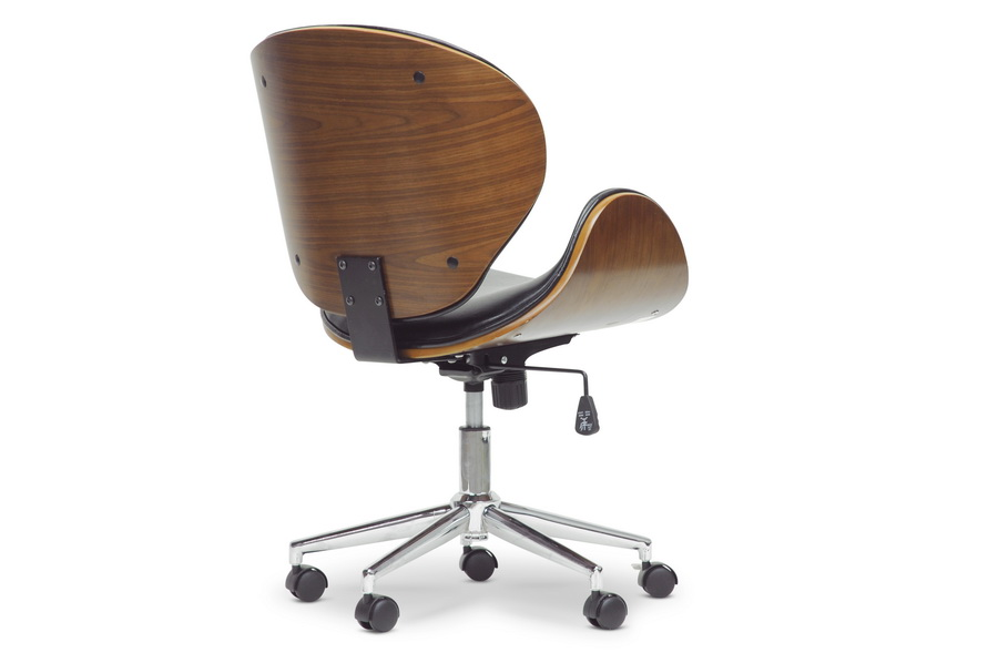 Baxton Studio Bruce Walnut and Black Modern Office Chair | Interior ...