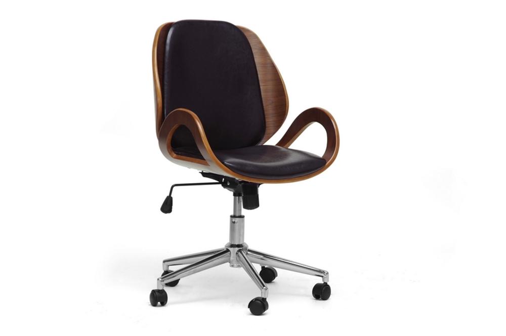 Incredible Baxton Studio Watson Walnut And Black Modern Office Chair Interior Design Ideas Gentotryabchikinfo
