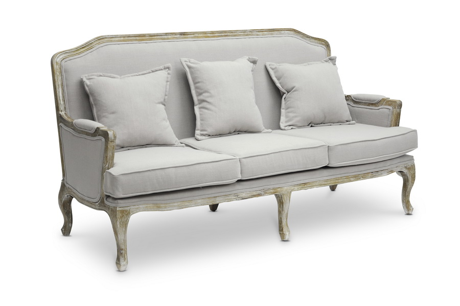 ... Baxton Studio Constanza Classic Antiqued French Sofa Set    IETA2256 Beige 3PC Set
