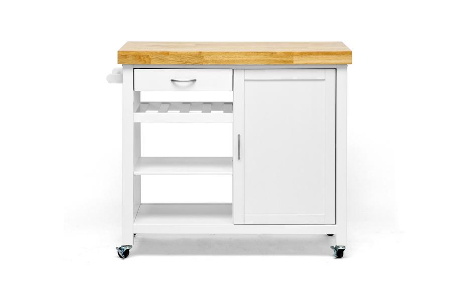 Baxton Studio Denver White Modern Kitchen Cart with Butcher Block Top