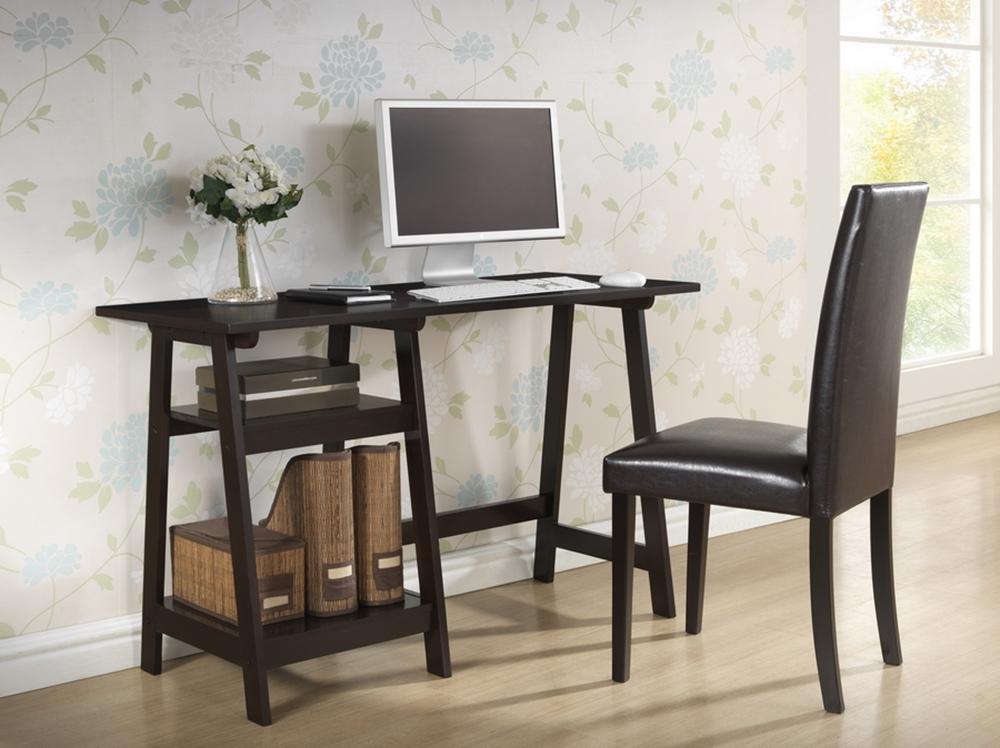 Baxton Studio Mott Dark Brown Wood Modern Desk With Sawhorse Legs Small Iert218