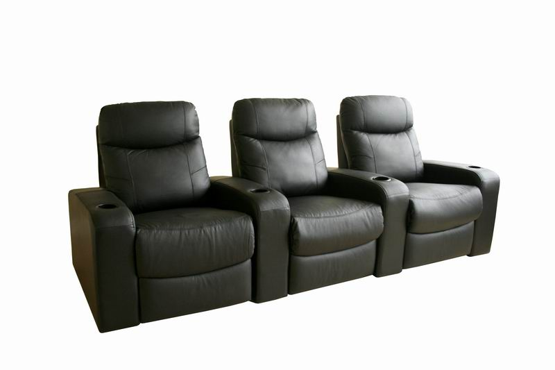 home theater seating cannes in black row of 3 interior express