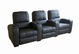 Broadway Home Theater Chairs in Black - Row of 3