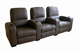 Broadway Home Theater Chairs in Brown - Row of 3