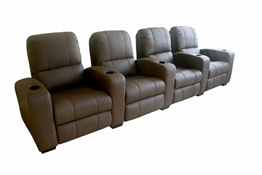 Broadway Home Theater Chairs in Brown - Row of 4
