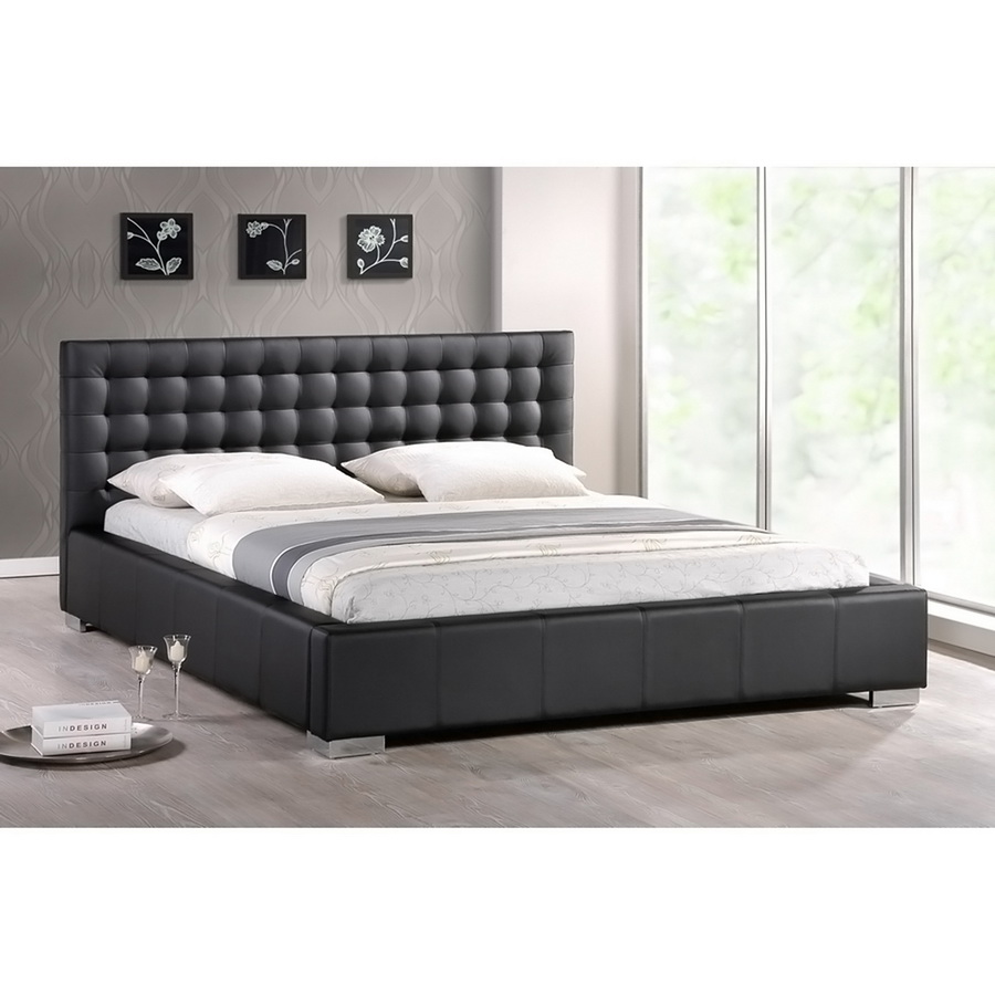 Baxton Studio Madison Black Modern Bed with Upholstered Headboard - Full Size Madison Black Modern Bed with Upholstered Headboard - Full Size, IEBBT6183-Black-Bed-Full, best price on Madison Black Modern Bed with Upholstered Headboard - Full Size, discount Madison Black Modern Bed with Upholstered Headboard - Full Size, cheap Madison Black Modern Bed with Upholstered Headboard - Full Size