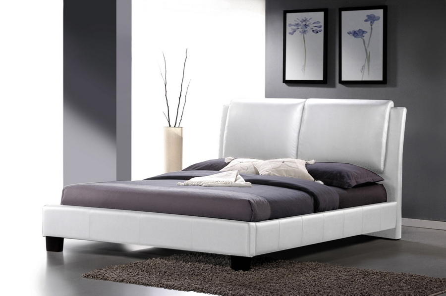 Baxton Studio Sabrina White Modern Bed with Overstuffed Headboard - Full Size Sabrina White Modern Bed with Overstuffed Headboard - Full Size, IEBBT6082-White-Bed-Full, best price on Sabrina White Modern Bed with Overstuffed Headboard - Full Size, discount Sabrina White Modern Bed with Overstuffed Headboard - Full Size, cheap Sabrina White Modern Bed with Overstuffed Headboard - Full Size