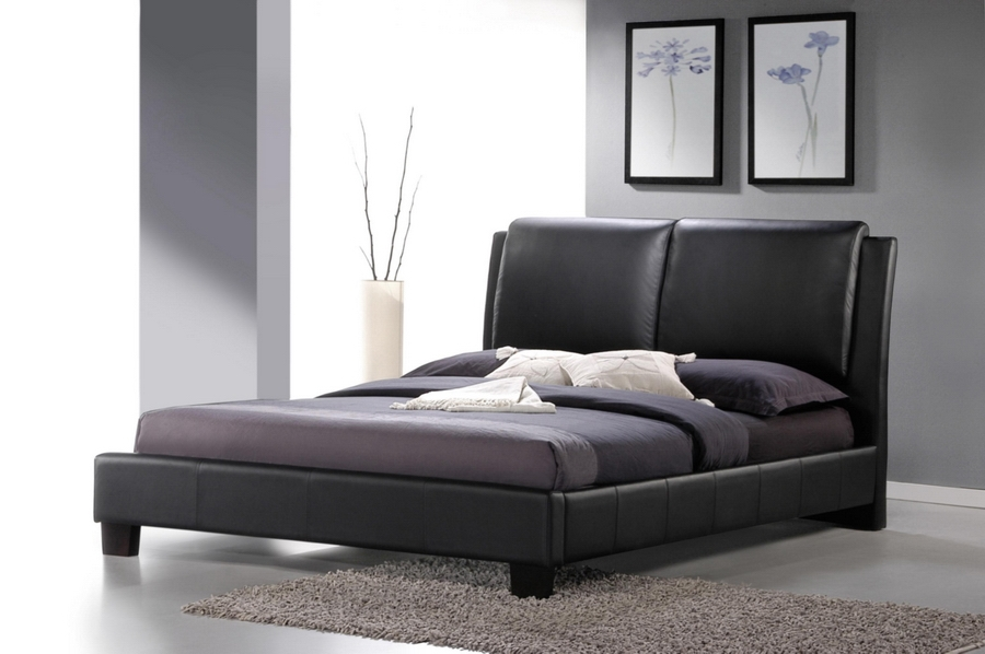 Baxton Studio Sabrina Black Modern Bed with Overstuffed Headboard - Full Size Sabrina Black Modern Bed with Overstuffed Headboard - Full Size, IEBBT6082-Black-Bed-Full, best price on Sabrina Black Modern Bed with Overstuffed Headboard - Full Size, discount Sabrina Black Modern Bed with Overstuffed Headboard - Full Size, cheap Sabrina Black Modern Bed with Overstuffed Headboard - Full Size