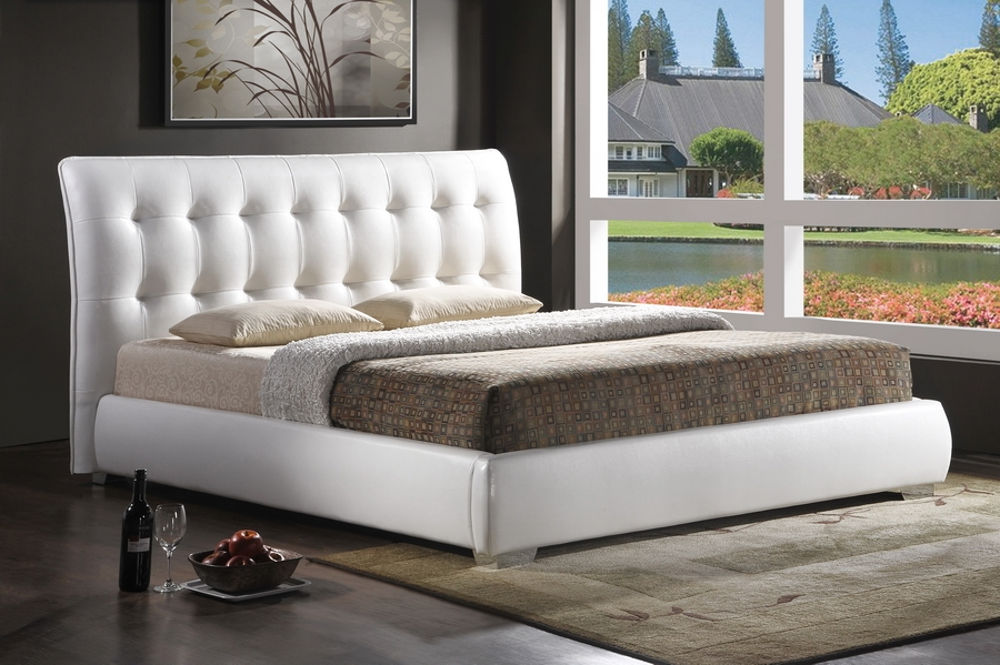 Baxton Studio Jeslyn White Modern Bed with Tufted Headboard - Full Size Jeslyn White Modern Bed with Tufted Headboard - Full Size, IEBBT6284-White-Bed-Full, best price on Jeslyn White Modern Bed with Tufted Headboard - Full Size, discount Jeslyn White Modern Bed with Tufted Headboard - Full Size, cheap Jeslyn White Modern Bed with Tufted Headboard - Full Size