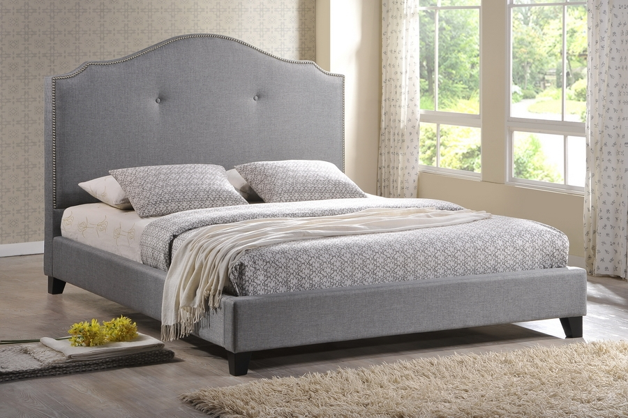 Baxton Studio Marsha Scalloped Gray Linen Modern Bed with Upholstered Headboard - Queen Size Marsha Scalloped Gray Linen Modern Bed with Upholstered Headboard - Queen Size, IEBBT6292 Bed-Grey Linen-Queen, best price on Marsha Scalloped Gray Linen Modern Bed with Upholstered Headboard - Queen Size, discount Marsha Scalloped Gray Linen Modern Bed with Upholstered Headboard - Queen Size, cheap Marsha Scalloped Gray Linen Modern Bed with Upholstered Headboard - Queen Size