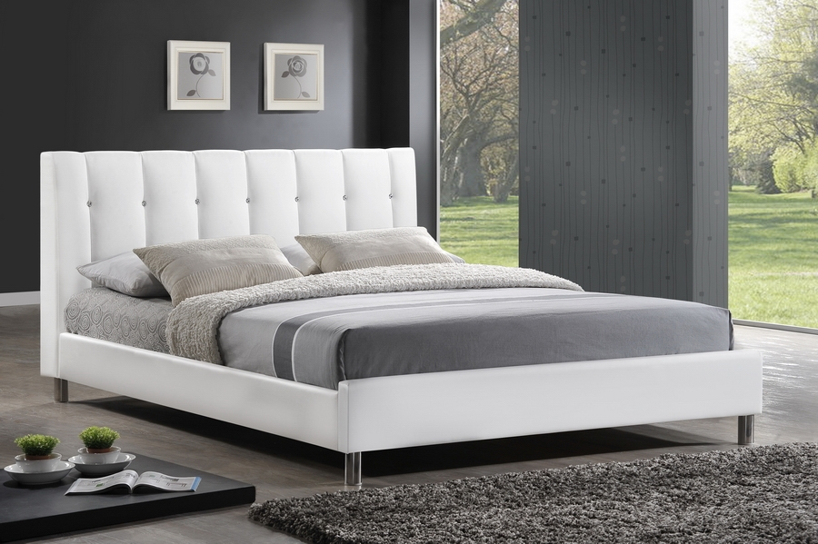 Baxton Studio Vino White Modern Bed with Upholstered Headboard - Full Size Vino White Modern Bed with Upholstered Headboard - Full Size, IEBBT6312-White-Full, best price on Vino White Modern Bed with Upholstered Headboard - Full Size, discount Vino White Modern Bed with Upholstered Headboard - Full Size, cheap Vino White Modern Bed with Upholstered Headboard - Full Size