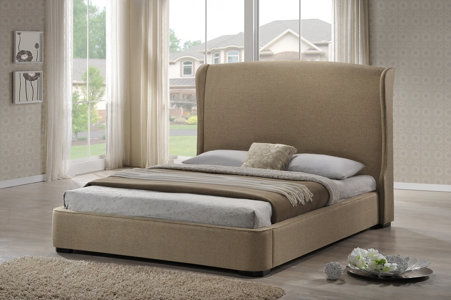 Baxton Studio Sheila Tan Linen Modern Bed with Upholstered Headboard - Queen Size Sheila Tan Linen Modern Bed with Upholstered Headboard - Queen Size, IEBBT6318-Beige-Queen, best price on Sheila Tan Linen Modern Bed with Upholstered Headboard - Queen Size, discount Sheila Tan Linen Modern Bed with Upholstered Headboard - Queen Size, cheap Sheila Tan Linen Modern Bed with Upholstered Headboard - Queen Size