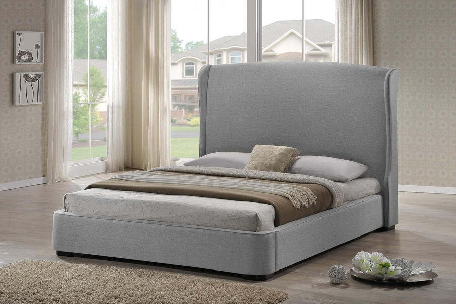 Baxton Studio Sheila Gray Linen Modern Bed with Upholstered Headboard - Queen Size Sheila Gray Linen Modern Bed with Upholstered Headboard - Queen Size, IEBBT6318-Grey-Queen, best price on Sheila Gray Linen Modern Bed with Upholstered Headboard - Queen Size, discount Sheila Gray Linen Modern Bed with Upholstered Headboard - Queen Size, cheap Sheila Gray Linen Modern Bed with Upholstered Headboard - Queen Size