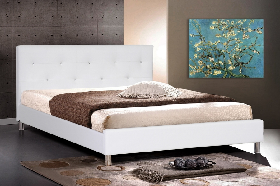 Baxton Studio Barbara White Modern Bed with Crystal Button Tufting - Full Size Barbara White Modern Bed with Crystal Button Tufting - Full Size, IEBBT6140-White-Full, best price on Barbara White Modern Bed with Crystal Button Tufting - Full Size, discount Barbara White Modern Bed with Crystal Button Tufting - Full Size, cheap Barbara White Modern Bed with Crystal Button Tufting - Full Size