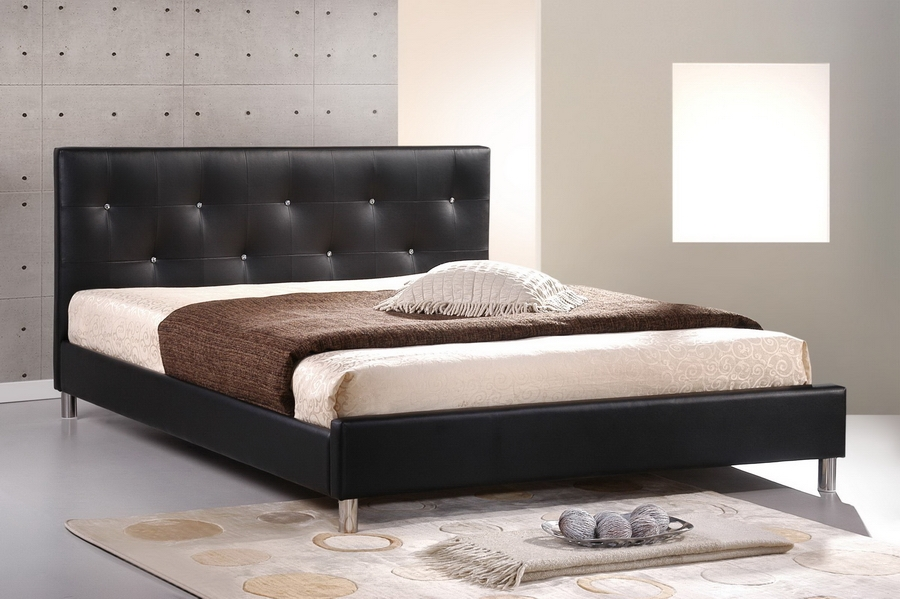 Baxton Studio Barbara Black Modern Bed with Crystal Button Tufting - Full Size Barbara Black Modern Bed with Crystal Button Tufting - Full Size, IEBBT6140-Black-Full, best price on Barbara Black Modern Bed with Crystal Button Tufting - Full Size, discount Barbara Black Modern Bed with Crystal Button Tufting - Full Size, cheap Barbara Black Modern Bed with Crystal Button Tufting - Full Size