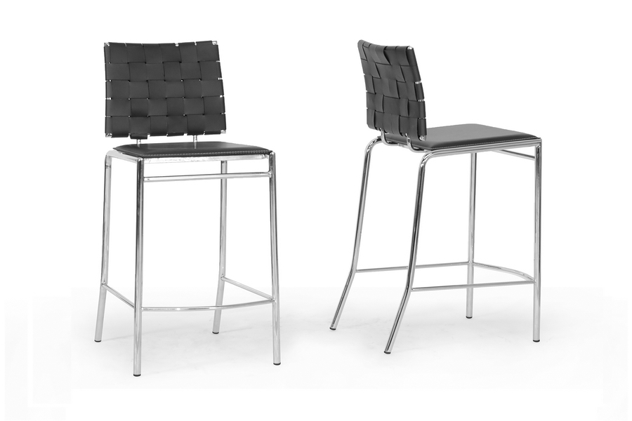 Baxton Studio Vittoria Black Leather Modern Counter Stool (Set of 2) Baxton Studio Vittoria Black Leather Modern Counter Stool, IEALC-1866B-65 Black, compare Baxton Studio Vittoria Black Leather Modern Counter Stool, best price on Baxton Studio Vittoria Black Leather Modern Counter Stool, discount Baxton Studio Vittoria Black Leather Modern Counter Stool, cheap Baxton Studio Vittoria Black Leather Modern Counter Stool
