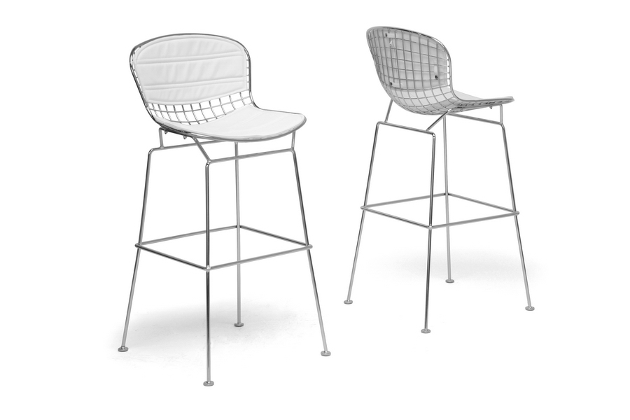 Baxton Studio Tolland Modern Bar Stool with White Cushion (Set of 2) Baxton Studio Tolland Modern Bar Stool with White Cushion (Set of 2), BSBS-479-white cushion (2)