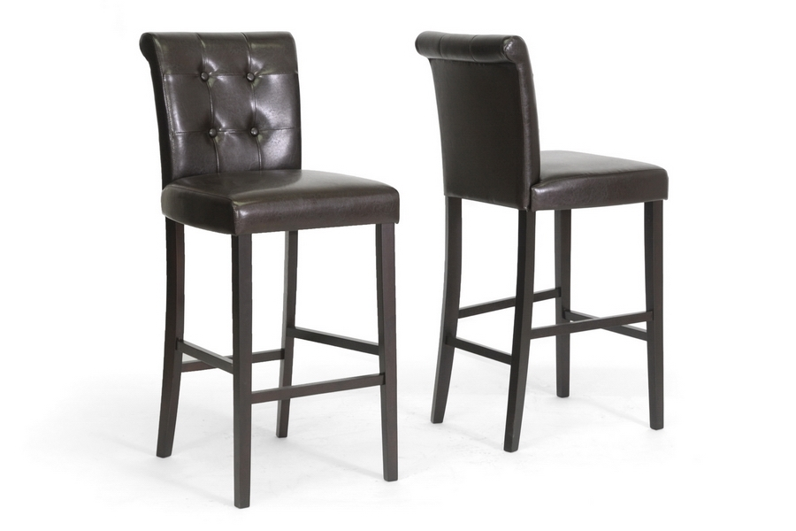Baxton Studio Torrington Brown Modern Bar Stool (Set of 2) Baxton Studio Torrington Brown Modern Bar Stool (Set of 2), BSCH2-Dark Brown-PSTL (2)