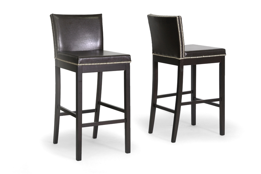 Baxton Studio Graymoor Brown Modern Bar Stool (Set of 2) Baxton Studio Graymoor Brown Modern Bar Stool (Set of 2), BSCH3-Dark Brown-PSTL (2)