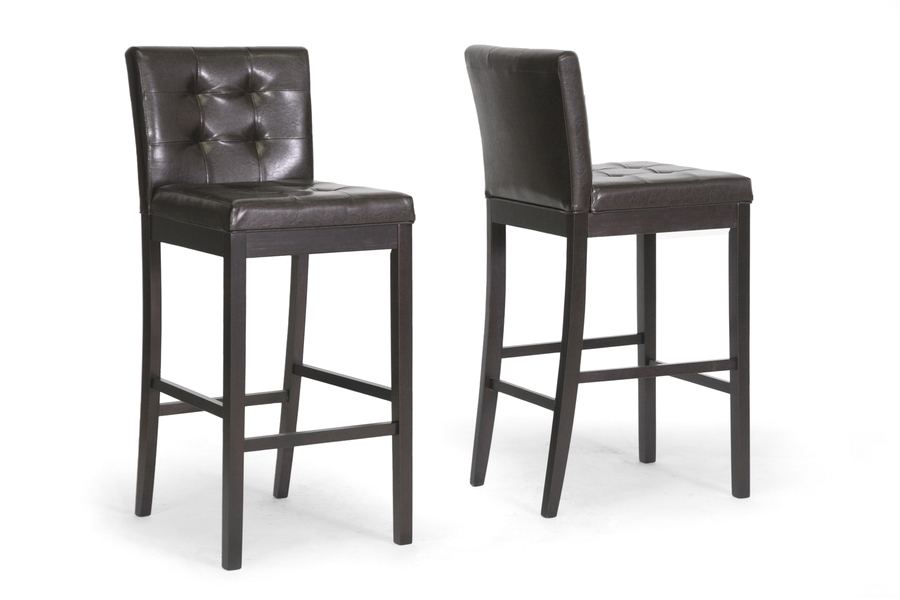 Baxton Studio Prospect Brown Modern Bar Stool (Set of 2) Baxton Studio Prospect Brown Modern Bar Stool (Set of 2), BSCH4-Dark Brown-PSTL (2)