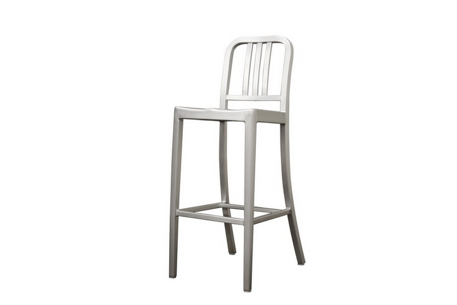 Modern Cafe Bar Stool in Brushed Aluminum - IELC-901B