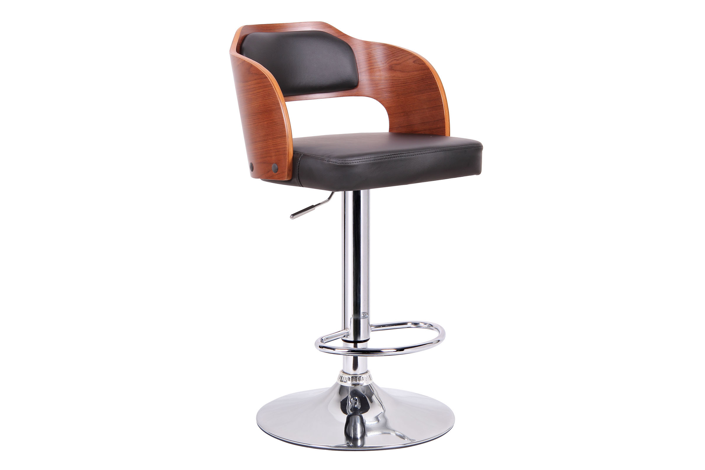Baxton Studio Sitka Walnut and Black Modern Bar Stool Sitka Walnut and Black Modern Bar Stool,IESD-2017-2-walnut/black-PSTL,compare Sitka Walnut and Black Modern Bar Stool,best price on Sitka Walnut and Black Modern Bar Stool,discount Sitka Walnut and Black Modern Bar Stool,cheap  Sitka Walnut and Black Modern Bar Stool