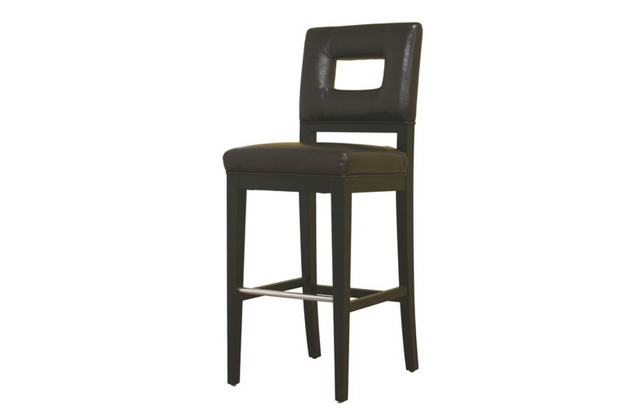 Faustino Dark Brown Leather Barstool - IEY-780-001-1