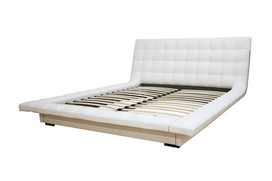Celia White Faux Leather King Platform Bed - IEB-006B-White-King
