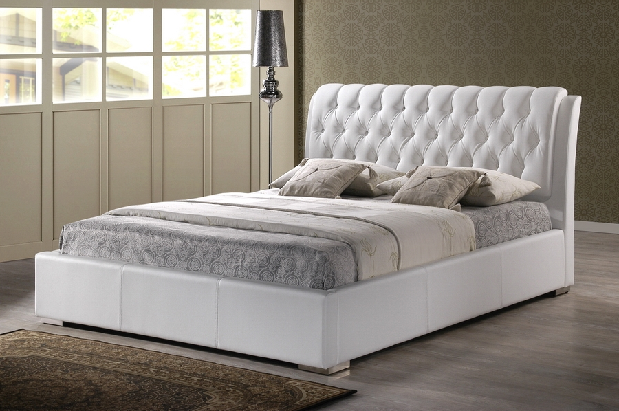Baxton Studio Bianca White Modern Bed with Tufted Headboard - King Size Bianca White Modern Bed with Tufted Headboard - King Size, IEBBT6203-White-King Bed, compare Bianca White Modern Bed with Tufted Headboard - King Size, best price on Bianca White Modern Bed with Tufted Headboard - King Size, discount Bianca White Modern Bed with Tufted Headboard - King Size, cheap Bianca White Modern Bed with Tufted Headboard - King Size