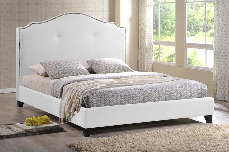 Baxton Studio Marsha Scalloped White Modern Bed with Upholstered Headboard - King Size Marsha Scalloped White Modern Bed with Upholstered Headboard - King Size, IEBBT6292 Bed-White-Kingcompare Marsha Scalloped White Modern Bed with Upholstered Headboard - King Size, best price onMarsha Scalloped White Modern Bed with Upholstered Headboard - King Size, discount Marsha Scalloped White Modern Bed with Upholstered Headboard - King Size, cheap Marsha Scalloped White Modern Bed with Upholstered Headboard - King Size