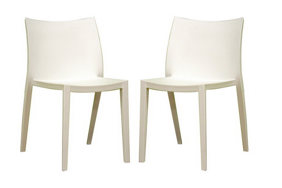 Odele White Plastic Chair Set of Two