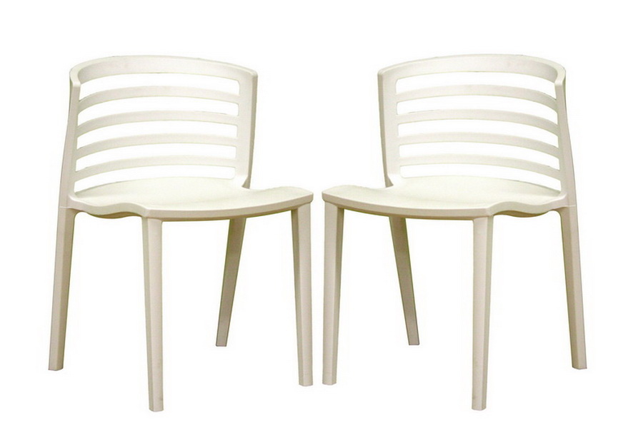 Ofilia White Plastic Chair Set of Two