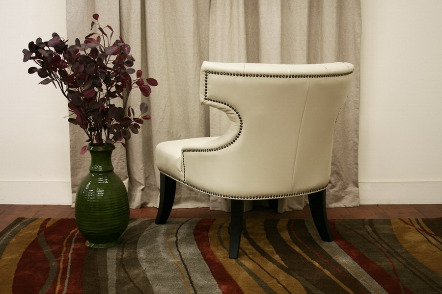 Taft Off-White Leather Club Chair